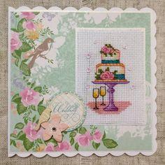 Handmade wedding card / cross stitch card / by BunnybearDesignsUK