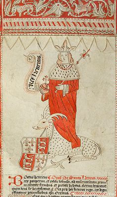 Henry VI of England, at his feet is spotted antelope, with escutcheon with arms of king of England around its neck   Prayer roll   England, Yorkshire   ca. 1500   The Morgan Library & Museum