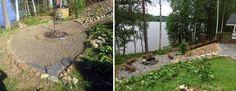 """""""Silmän"""" muotoinen tulisija- & kylpypaljun vilvoittelualue istuu kauniisti rinnemaisemaan. Luonnonkiviportaiden jal liuskealueiden reunoille on aseteltu kenttäkiviä rajaamaan alueita. Liuskeiden ja portaiden asennus: Viinijärven Kivi Oy"""