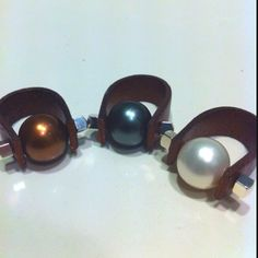 My new rings made of leather and pearls