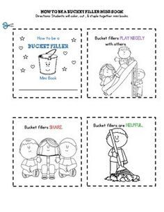 How to Be a Bucket Filler Mini Book by Buckeye School Counselor Bucket Filling Activities, Bucket Filling Classroom, Kindness Activities, Preschool Activities, Friendship Activities, 1st Day Of School, Beginning Of School, Sunday School, Whole Brain Teaching