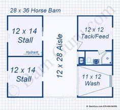 2 Stall Monitor Style Horse Barn Design Floor Plan- Would be good for Stallion or a quarantine barn. 2 Stall Monitor Style Horse Barn Design Floor Plan- Would be good for Stallion or a quarantine barn.