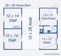 2 Stall Monitor Style Horse Barn Design Floor Plan