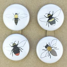 bee pin back button badges set of four by katebroughton on Etsy