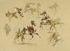 Marine oussedik - Painter - Sculptor Mare and foal (study) ink on paper