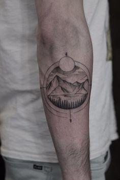 Dotwork landscape travel compass tattoo by dutch artist levi jake