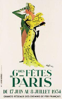 Grandes Fêtes de Paris - Grands réseaux des chemins de fer français - 1934 - (Jean-Gabriel Domergue) -