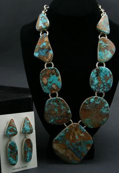 Necklace & Earrings | Joe Piaso Jr. Navajo Pilot Mountain Turquoise and Sterling Silver.
