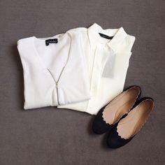 Sale shopping: The Kooples jumper, Zara silk shirt, Chloé flats