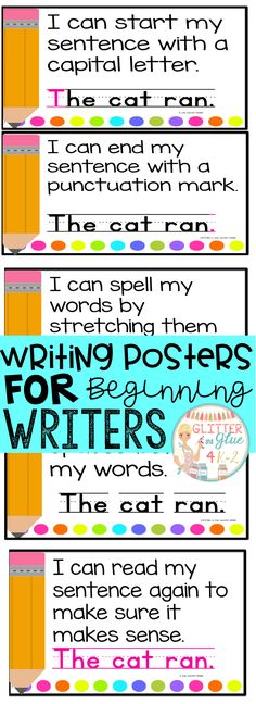 These posters are perfect to hang in your writing center for your little ones! I would recommend these be used in either a preschool, kindergarten, or first grade classroom! I've included a version with a black background and a printer-friendly version wi