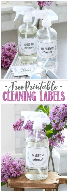 Get these free printable cleaning labels for your cleaning products or DIY green cleaners. So pretty! Deep Cleaning Tips, Cleaning Hacks, Diy Soap Labels, Labels Free, Cleaning Painted Walls, Cleaning Business, Craft Free, Label Templates, Simple Life Hacks