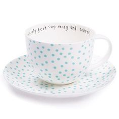 """uncommonly good cup mug and saucer, ls dot old blue"" https://sumally.com/p/208487"