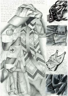 sketchbook page exploring personally relevant clothing items...graphite, Indian ink, black pen and charcoal. By Nikau Hindin, ACG Parnell College