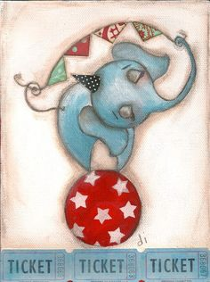 Print of my original folk art childrens circus painting - Balancing Act