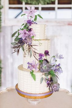 Amethyst Flower Adorned Wedding Cake