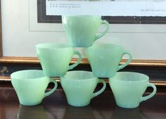 Vintage Fire King Glass Jadeite Green Coffee Tea Cups D Handle . Vintage Dishes, Vintage Kitchen, Green Milk Glass, Kitchenware, Tableware, Vintage Fire King, Kitchen Stuff, Pyrex, Cool Kitchens