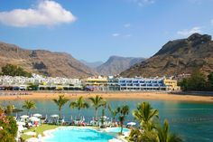 """Playa de Mogán beach from the THe hotel pool: From our """"best Gran Canaria Pools"""" feature."""