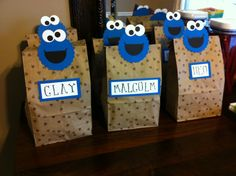 Cookie Monster goody bags Monster First Birthday, Monster 1st Birthdays, First Birthday Themes, Baby 1st Birthday, Birthday Cookies, 1st Boy Birthday, Birthday Ideas, Monster Baby Showers, Cookie Monster Party