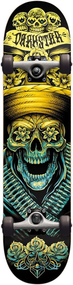 Darkstar 10512156 Bandito Complete Skateboards, FUL8.0, Yellow/Blue. 7 Ply Hard Rock Maple with our exclusive Stiff Glue Extra. 5.0 T5 Aluminum Darkstar trucks with good turning radius. 92A bushings, softer bushing allowing for all weight and size skaters. Abec 1 carbon steel speed bearings. New and improved urethane formula. 95A Durometer wheels are perfect hardness, suitable for both street and park skating.