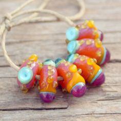 Sunrise 6 Lampwork Beads by Meital on Etsy