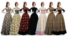 Sims 4 CC's - The Best: Old West Hoop Dresses with Matching Hats and Bows ...