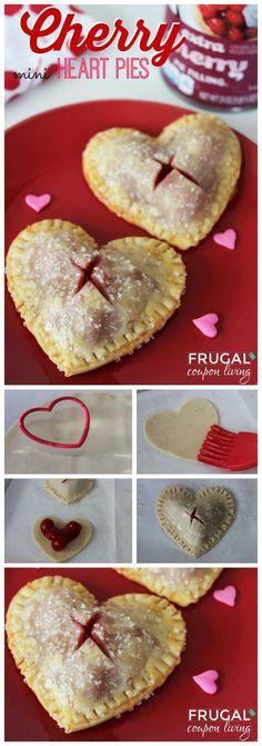 Valentines Dessert. Valentine's Day Mini Heart Cherry Pies on Frugal Coupon Living. Valentines Idea. Cherry Pie Recipe.