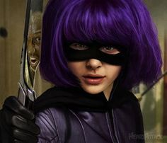 Hit girl from Kick-ass Characters With Purple Hair, Girls Characters, Marvel Series Movies, Hit Girl Costumes, Famous Movie Scenes, Face Proportions, Chloë Grace Moretz, Best Superhero, Tough Girl