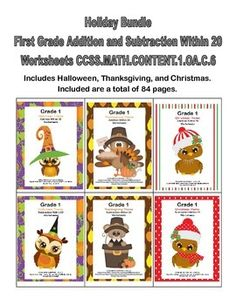 Are you looking for fun timely practice that targets the important skill of building fluency in addition and subtraction within 20? This bundle of six sets of printable worksheets has 84 pages with a Halloween, Thanksgiving, and Christmas Theme. Its simple addition and subtraction within 20 with 36 pages of practice and an answer key.