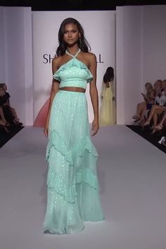 Aqua Halter Two Piece Long Dress with Open Back and Chiffon Ruffled Skirt. Spring Summer 2019 Runway Collection by Sherri Hill on FF Channel Party Fashion, Fashion Show, Couture Dresses, Fashion Dresses, Two Piece Long Dress, Chiffon Dress Long, Ruffle Skirt, Indian Gowns, Everyday Dresses