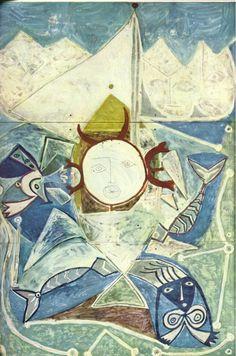 """Ulysses and Sirens"".Artist: Pablo Picasso Completion Date: 1946 Style: Surrealism Period: Neoclassicist & Surrealist Period Genre: mythological painting Technique: oil Material: panel Dimensions: 450 x 300 cm. Kunst Picasso, Art Picasso, Picasso Paintings, Cubist Movement, Georges Braque, Pierre Auguste Renoir, Klimt, Famous Artists, Oeuvre D'art"