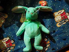 Rabbit plush Hippity green bunny Ty Beanie Baby rare retired 1996 MWMT FREE SHIPPING