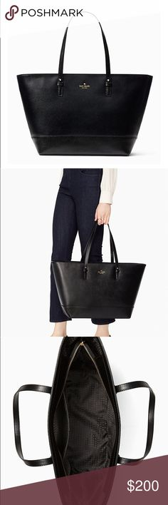 "✨NWT✨ Kate Spade Black Leather Tote NWT. Perfect for the office or class! In pristine condition. MAKE AN OFFER or bundle and save! No trades or lowballs.  11.3""h x 16.4""w x 6.4""d—drop length: 9""  MATERIAL boarskin leather with matchng trim capital kate jacquard lining 14-karat light gold plated hardware  DETAILS over the shoulder bag with zip top closure interior zip and double slide pockets kate spade new york gold printed signature with stud kate spade Bags Totes"