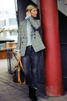 Casual Glencheck-Styling... Lagenlook mit Blazer und Pullover...