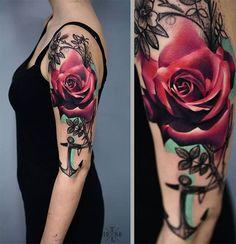 Rosa com âncora – Fotos de Tatuagens