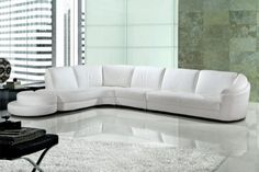 9049 White Bonded Leather Living Room Sectional Sofa With Ottoman