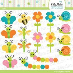 Bugs - Clip Art Set Digital Elements for Cards, Stationery and Paper Crafts and Products via Etsy