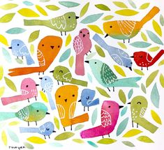 30/100  More Birds! . #100dayproject #100daysofsketchbook #watercolor #bird #birdart #leaves #painting #birdsofinstagram #dailycreation #sketchbook #drawing #terryrunyan