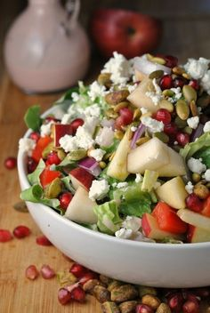 Pomegranate, Pear, and Pistachio Salad with Creamy Pomegranate Dressing