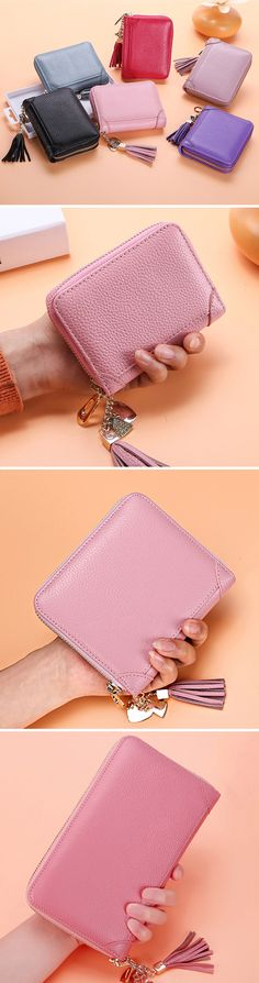 Leather Multi-slots Zipper Card Holder:20/40/60 Card slots #fashion #style #art