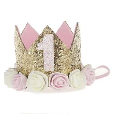 8e913102551 Baby Princess Tiara Crown Baby Girls  Kids First Birthday Hat Sparkle Gold  Flower Style with