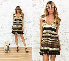 Vintage Hand CROCHETED 1970s Plunging Neck Boho Mini Dress