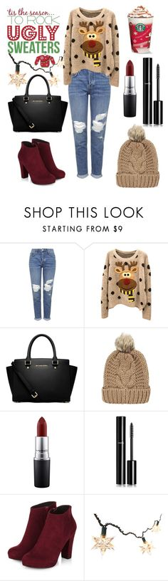 """""""the fact that you're wearing an ugly christmas sweater doesn't mean that the whole outfit needs to be ugly  #quoteforlive"""" by marijefemke ❤ liked on Polyvore featuring Topshop, MICHAEL Michael Kors, Chicnova Fashion, MAC Cosmetics and Chanel"""