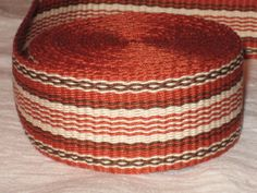 Rusty orange, brown, and cream hand-woven inkle trim (over 14 feet) on Etsy, $40.00