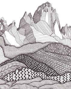 Patterns on Patagonia Art Print / Mountain Art Print / Giclee Print / Black and White Art / Landscape Wall Art : Patterns on Patagonia Art Print / Mountain Art Print / Giclee Print / Black and White Art / Landscap Zentangle Drawings, Zentangle Patterns, Art Drawings, Zentangles, Pencil Drawings, Mountain Drawing, Mountain Art, Tattoo Mountain, Abstract Landscape