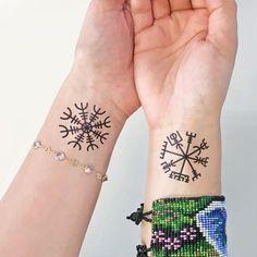 Viking Aegishjalmur Vegvisir Temporary Tattoo Set of 2 Hand Tattoos, Simbolos Tattoo, Grey Ink Tattoos, Real Tattoo, Tattoo Set, Forearm Tattoos, Body Art Tattoos, Crow Tattoos, Phoenix Tattoos