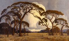 I used to go on painting outings with my Nanna as a child living in Zimbabwe and as a result I have always enjoyed the South African landscape painter Jacobus Hendrik Pierneef. He was considered to be one of the best old South African Masters. African Paintings, Old Paintings, Acrylic Paintings, Landscape Art, Landscape Paintings, South Africa Art, African Tree, South African Artists, Cool Landscapes