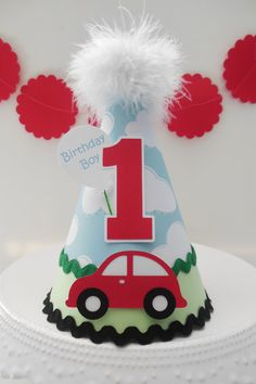 Little Red Car Party Hat -Transportation Party - Blue Cloud, Red, Green, Black - Personalized 1st Birthday Party Supplies, Elmo Birthday, Baby Boy Birthday, Dinosaur Birthday, Dinosaur Party, Car Themed Parties, Cars Birthday Parties, Auto Party, Car Party