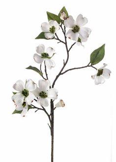 "Silk Dogwood Branch Spray in White<br>28"" Tall"
