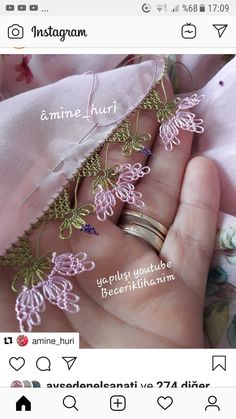Source by nuranbabaanne Needle Lace, Diy And Crafts, Embroidery, Crochet, Flowers, Jewelry, Instagram, Herbs, Dots