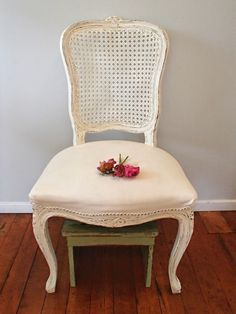 D.D.'s Cottage and Design: Creamy White French Cane Chair